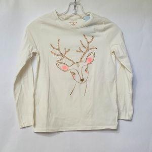 Cat & Jack Girls' Long Sleeve Deer Graphic T-Shirt